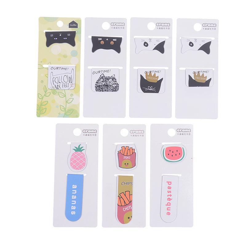 2pcs/pack Cute cat fries fruit magnetic bookmark page clip school office supply