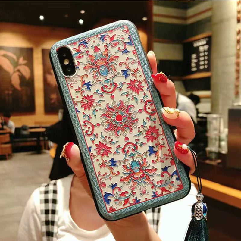 Retro Chinese reliefs soft TPU phone case For OPPO R17 R15 R11S R11 R9