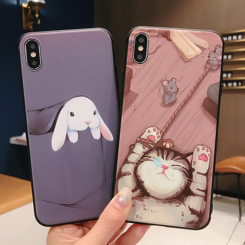Cute cat and mouse  anti-drop Phone Case For iPhone Xs Max XR 8 7 Plus