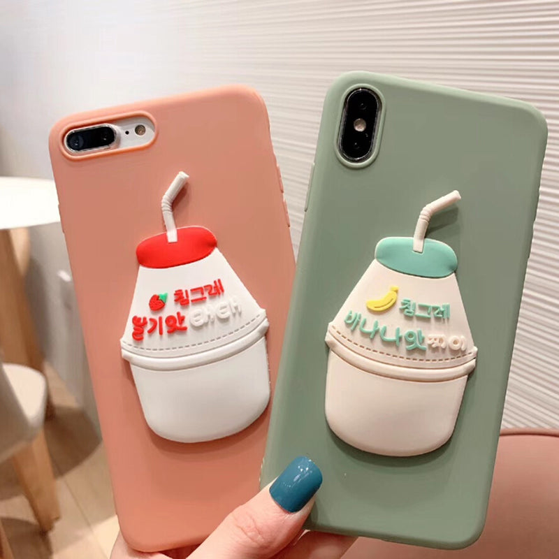 Solid Milk Beverage Grinded Soft TPU phone case for iphone 6 7 8 plus