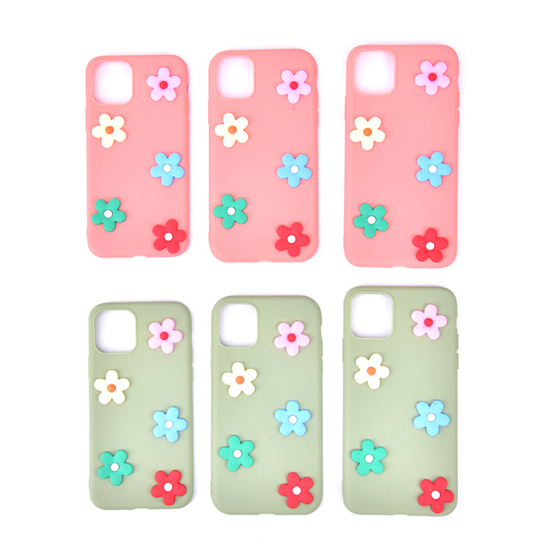 Cute 3D Flowers soft Silicone Phone Case for iphone 11 11promax 11MXmas