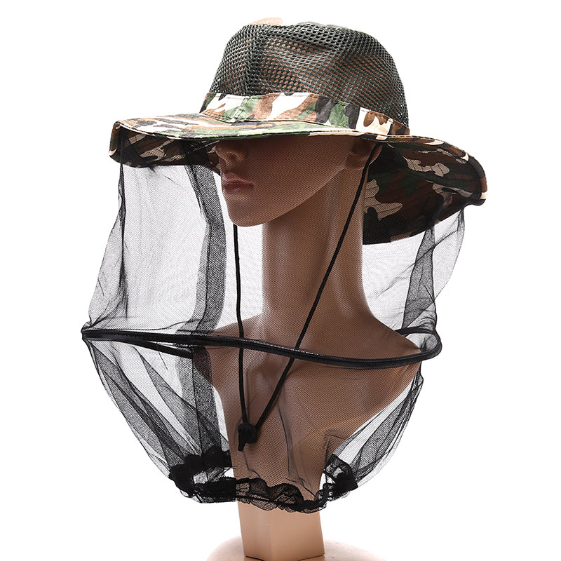 Beekeeping Hat Wide Brim Camouflage Mosquito Net Fishing Cap Bee Flying Insects