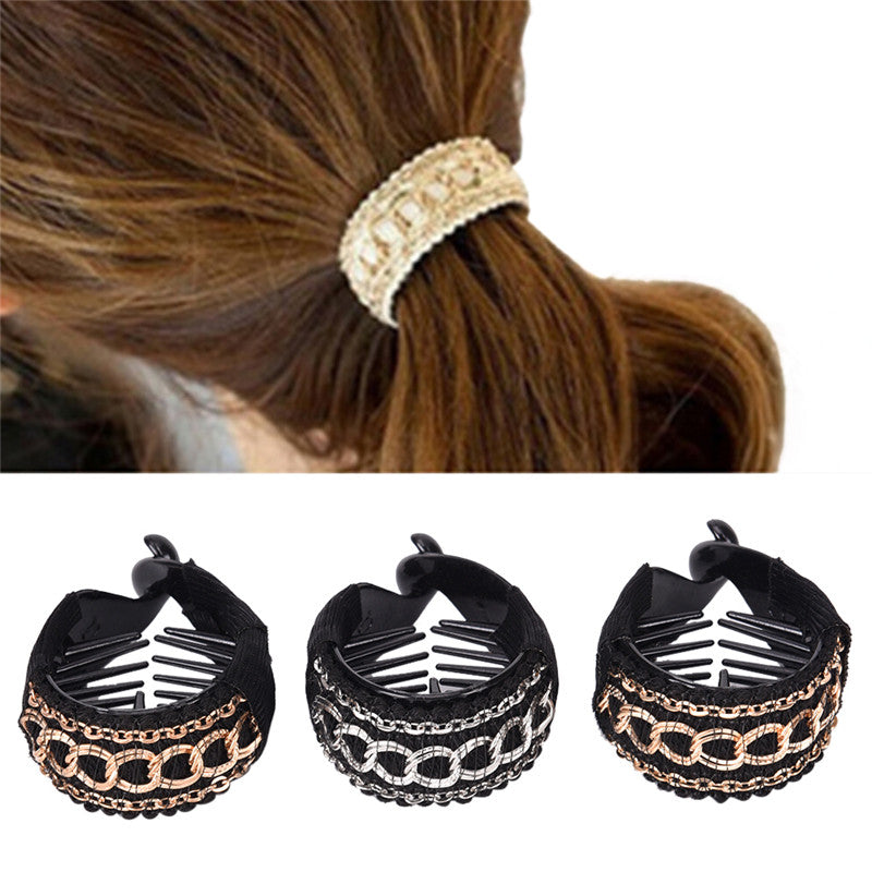 Fashionable Luxury Cute Women Gold Chain Hair Clip Hair Barrette Ponytail Holder