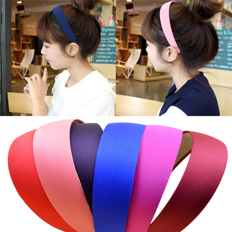 5 COLOR WIDE PLASTIC HEADBAND HAIR BAND ACCESSORY WHOLESALE LOTS SATIN HEADWEAR