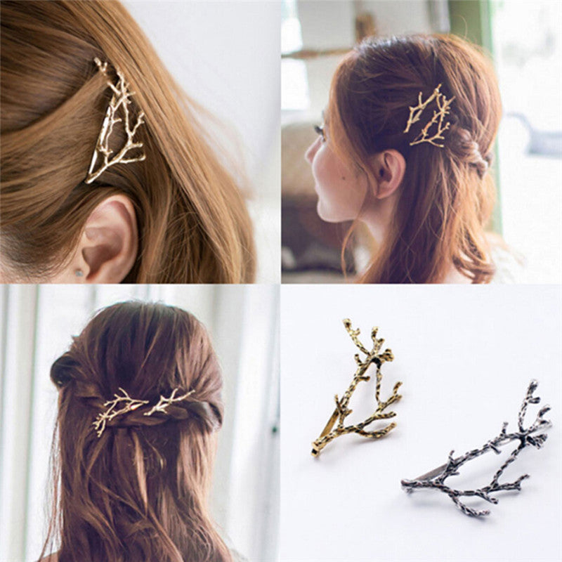 Celebrity Metal Tree Branch Hairpins Gold Silver Hair Clips for Lady Bobby Pin