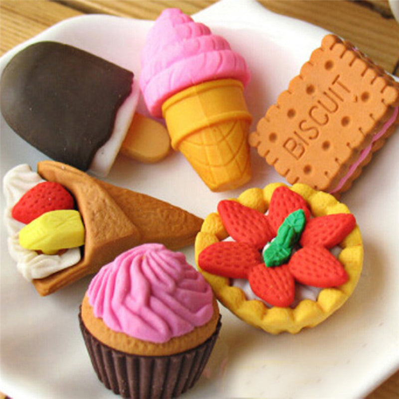 Fun Eraser 4pcs Random Kid Child Japan Cup Cake Biscuit Cookie Cream Eraser Hot