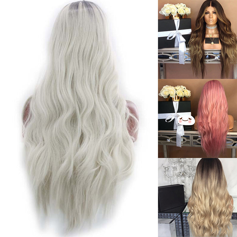 Sexy Gradient Blonde Party Wigs Long Curly Hair Mixed Colors Synthetic Wig