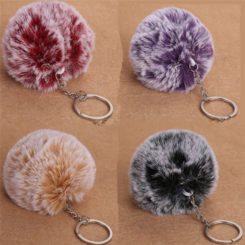 NEW 2017 Faux Rabbit Fur Pom-pom Key Chain Bag Charm Fluffy Puff Ball KeyRing