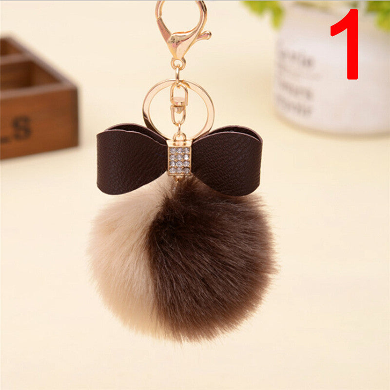 Women Plush Keyring Ball Ear Bow Rabbit Fur Pompom Car Key Chain Double Key Ring