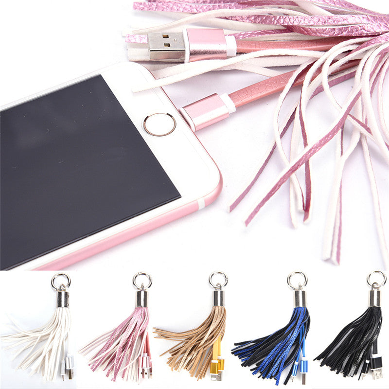 Leather Tassel USB Cable Metal Ring Key Chain Charging Data Cord Charger Wire