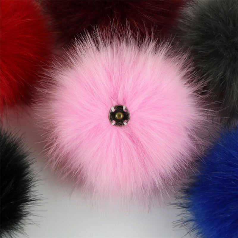 1PC Faux Fox Fur Pom Pom with Press Button Fake Fur Hat Bubble Removable Button