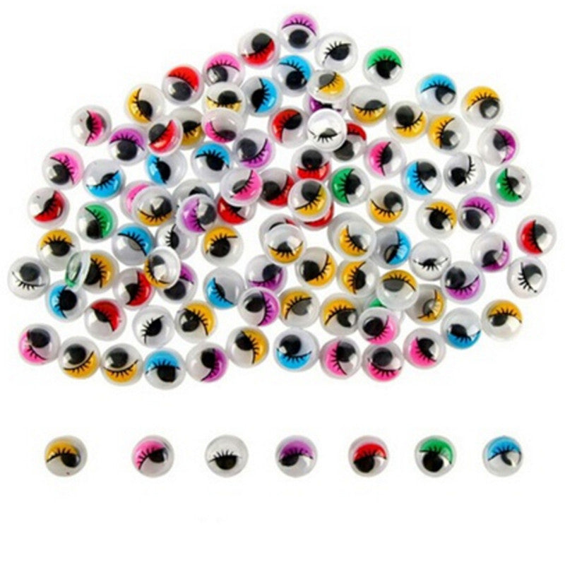 100PCs Coloured Eyelashes Wiggly Wobbly Googly Eyes Lash For DIY Craft Decor