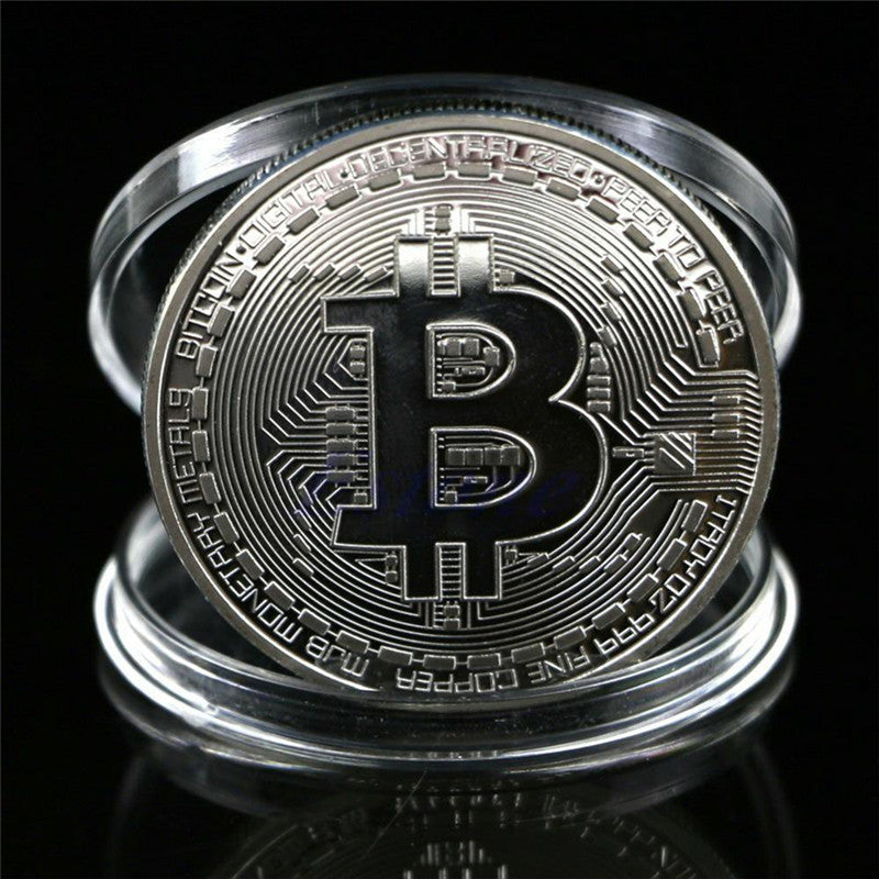 2017 Silver Bronze Plated Iron Art Collectible Gift Coin Virtual Money Bitcoin Souvenir
