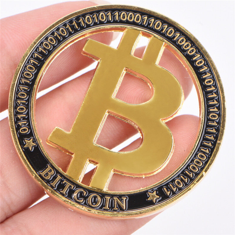 Commemorative Coin Gold Plated Hollow out Bitcoin BTC Souvenir Art Collection