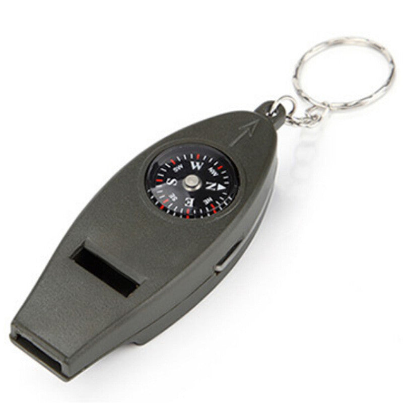Mini Outdoor 4 In1 Survival Whistle Compass Magnifying Thermometer Keychain