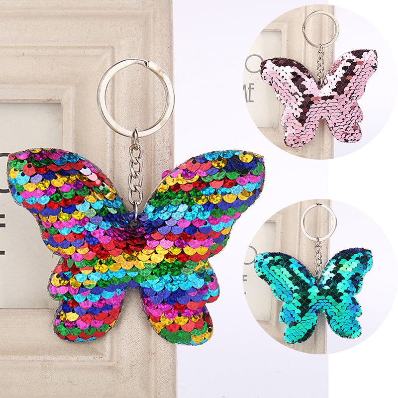 Mermaid Sequins Keychain Handbag Pendant Butterfly Keyring Bag Accessories