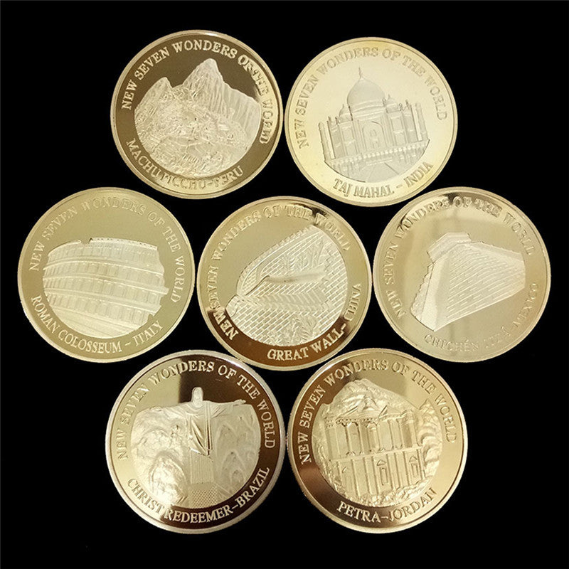 2007 Seven Wonders of the World Gold Coins Set Commemorative Coin Collection