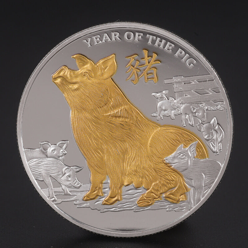 Gold Plated Challenge Coin Commemorative Coins Year of Pig Good luck 2019
