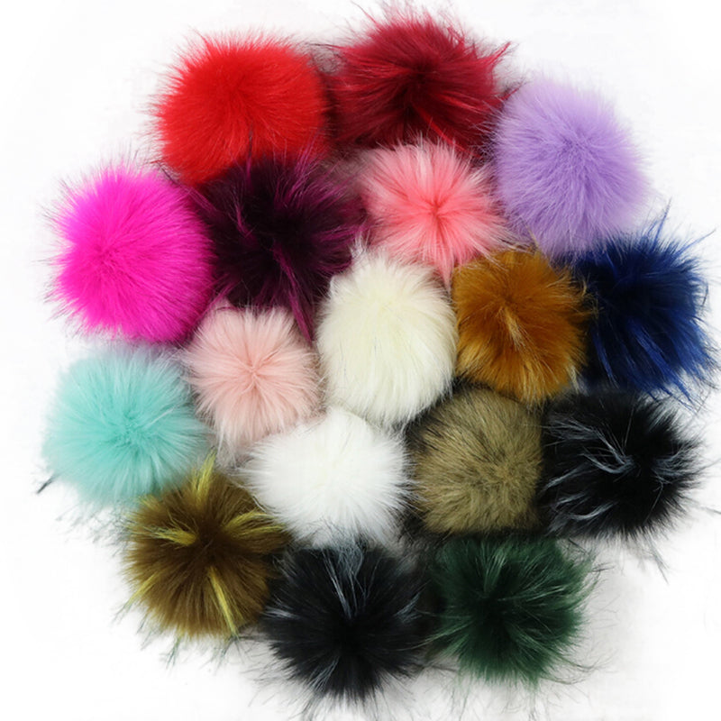 1pc DIY Faux Fox Fur Pom Pom Ball Fur Ball Pom for Keychain Beanie 10cm