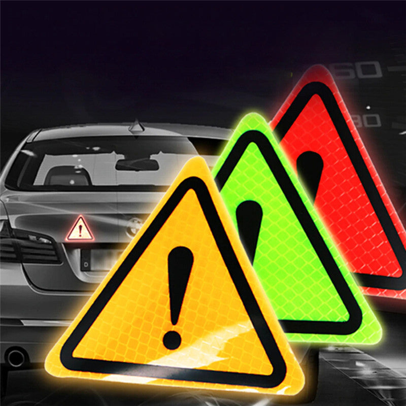 Universal Reflective Warning Sticker Car Motorcycle Triangle Warning Label DIY