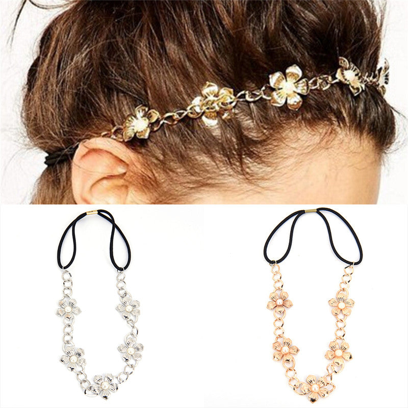 1PC Metal Chain Hollow Rose Flower Elastic Hair Band Headband Women Jewelry
