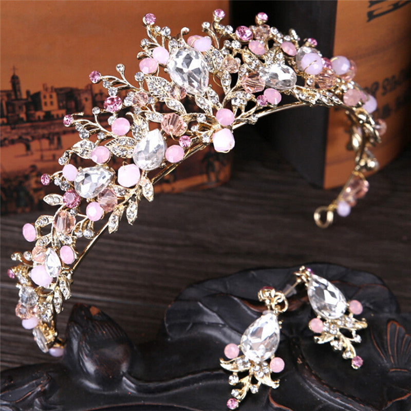 Pearl Bridal Crowns Handmade Tiara Bride Headband Crystal Wedding Queen Crown