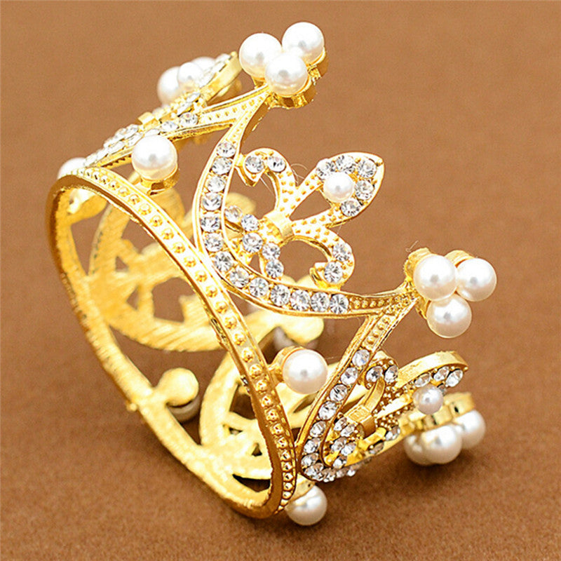 Wedding Bridal Crown Jewelry Pearl Queen Princess Crown Crystal Hair Accessory