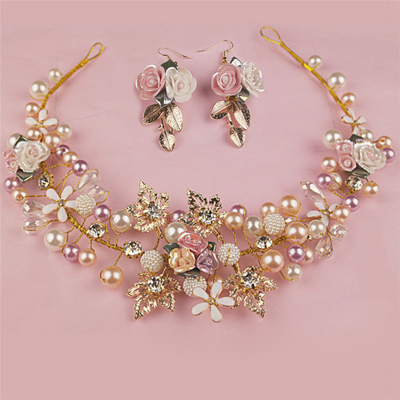 Pearl Flower Crystal Rhinestone Wedding Bridal Headband Clip Hair Band Handmade