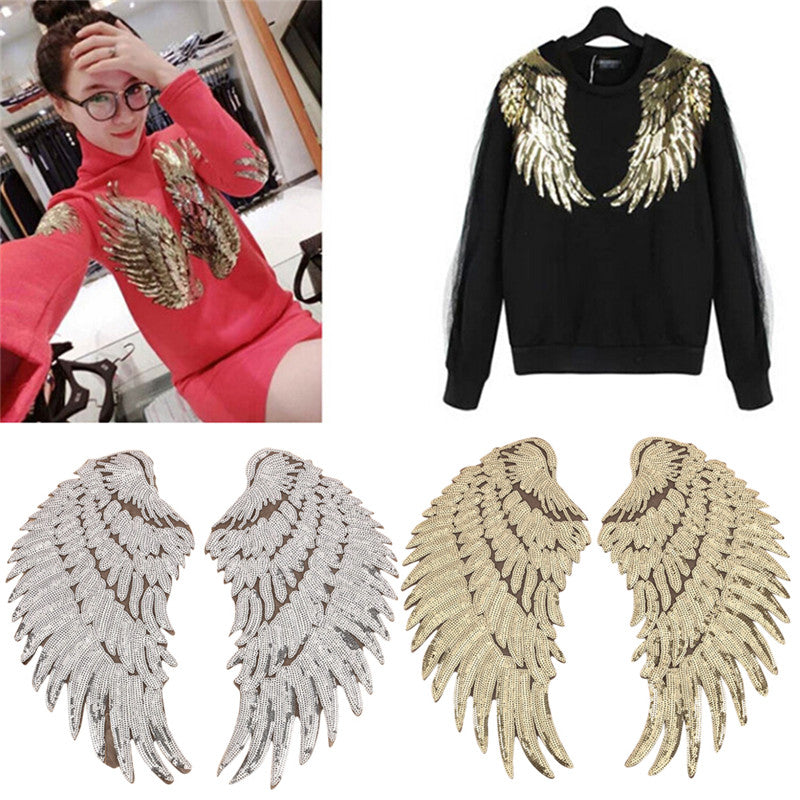 1 pair Clothes Wings Sequins Motif Applique Embroidered Iron On Patches Sticker