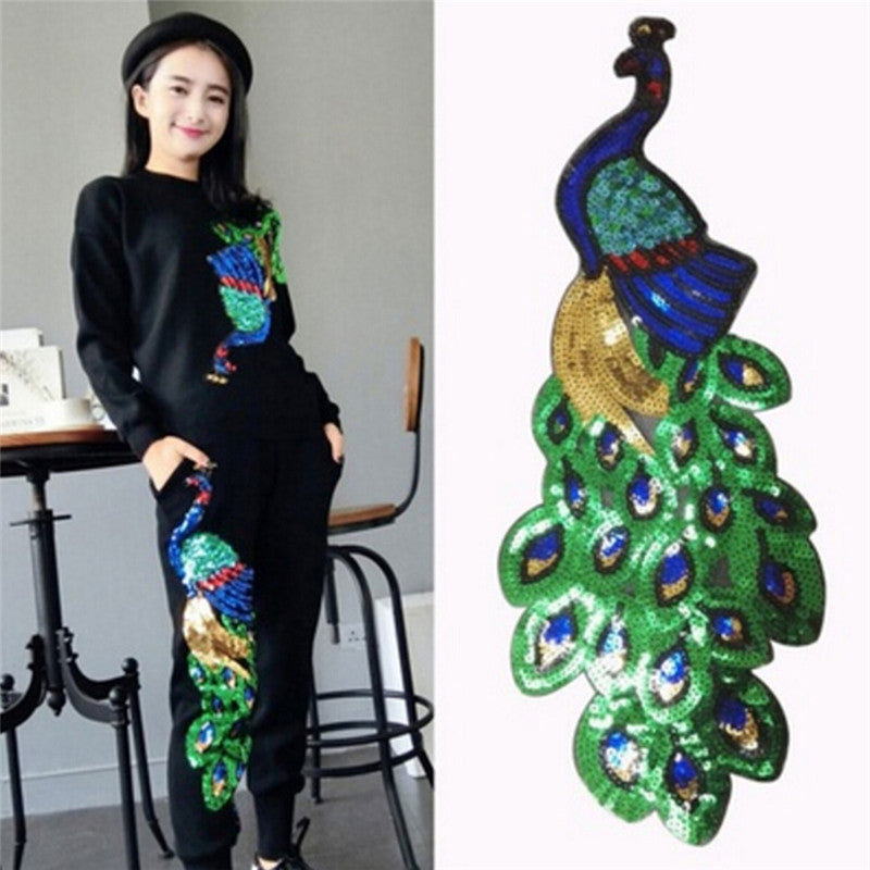Women Sequin Peacock Embroidery Applique Patch Sew On Clothes Accessory Diy New