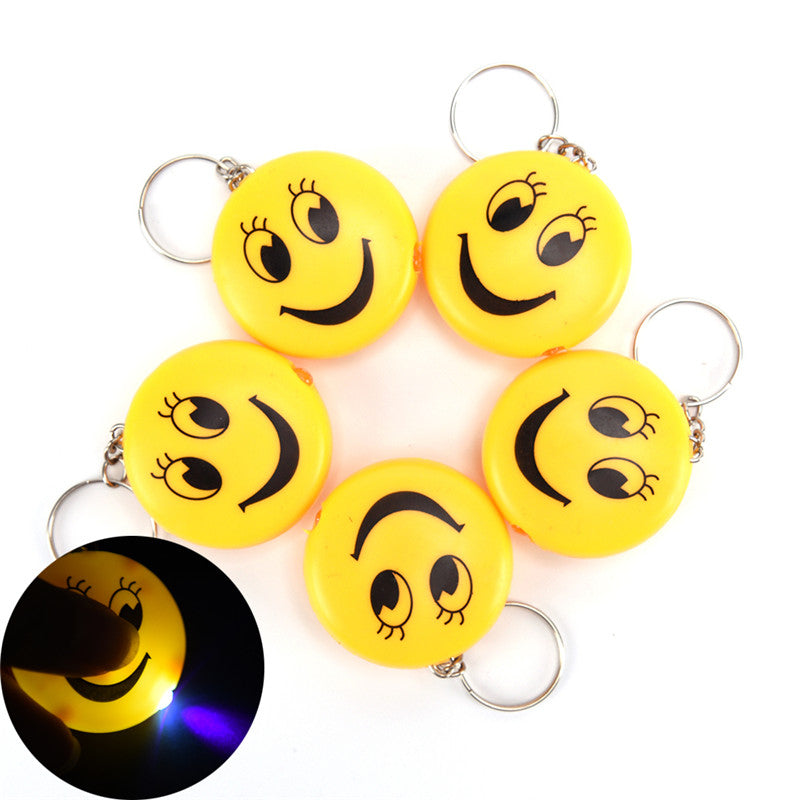 Cartoon Emoji Design Led Key chain With Sound Flashlight Kid Pig Keyring
