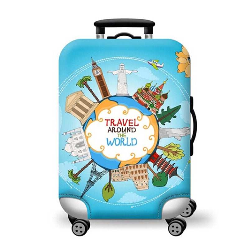 Printed Elastic Dustproof Travel Suitcase Cover Luggage Protector Colorful New