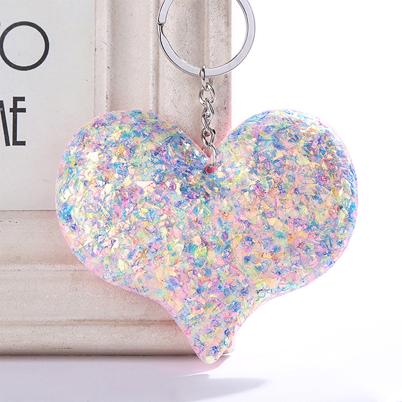 Car Jewelry Sequins Keychain Bag Accessories Heart Keyring Handbag Pendant Cute