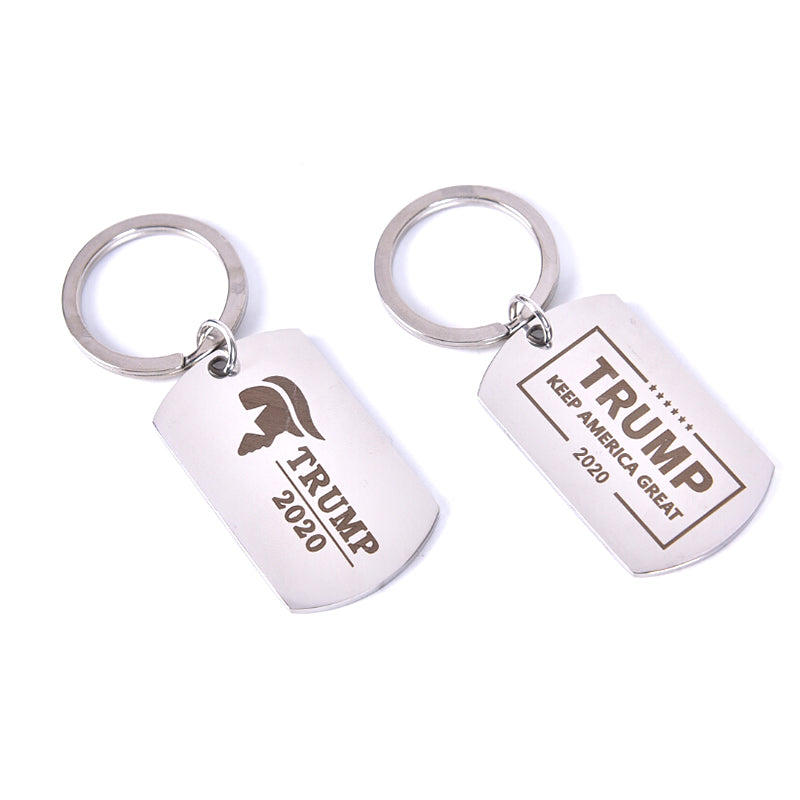 Stainless Steel Keychain Trump 2020 Pendant Keyring Key DIY Key chain Gift New