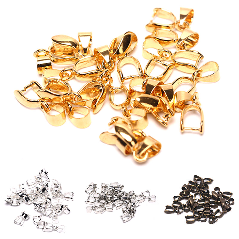 20PCS Clasps Clips Bails Connector Silver Bronze Gold Pendant Jewelry Findings