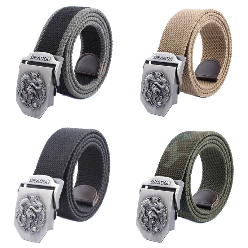 Mens Canvas Belt Military Tactical Waist Belt Dragon Alloy Buckle Belts 3.8cm
