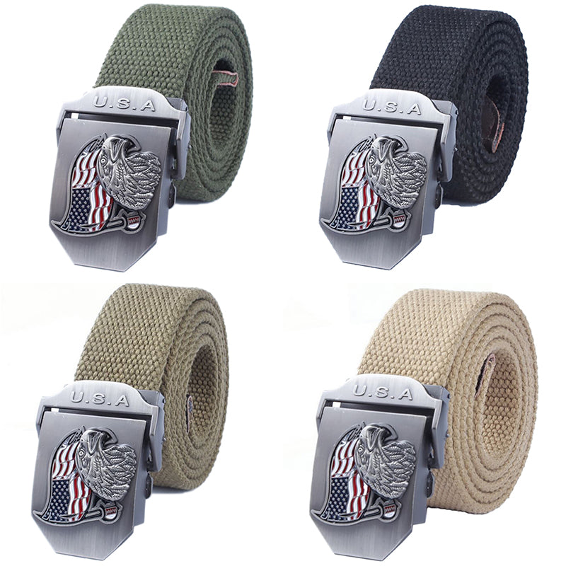 U.S.A Eagle Mens Canvas Belt Military Tactical Waist Belt Alloy Buckle Belts