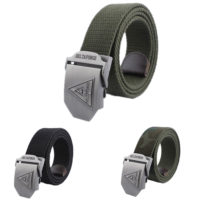 Delta Mens Canvas Belt Military Tactical Waist Belt Alloy Buckle Belts