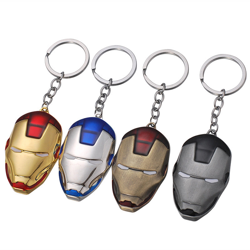Anime Movie Marvel The Avengers Iron Man Captain America Mask Metal Keychain