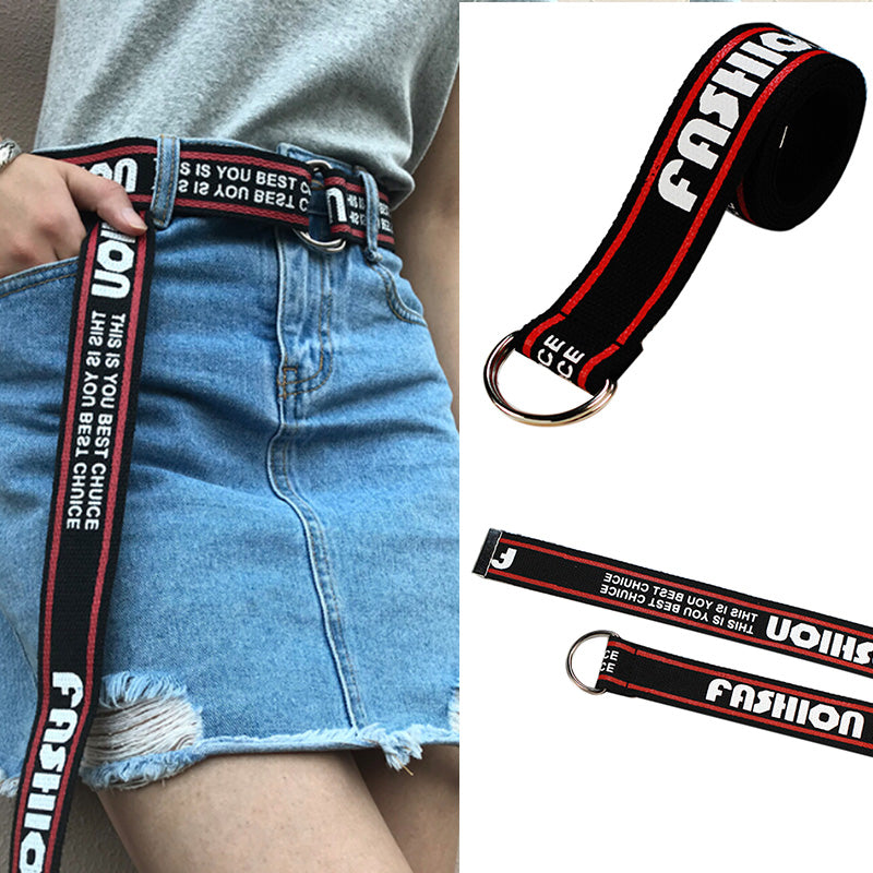 Women Harajuku Belt Punk Street Letter Printed Double D Ring Canvas Long Belts