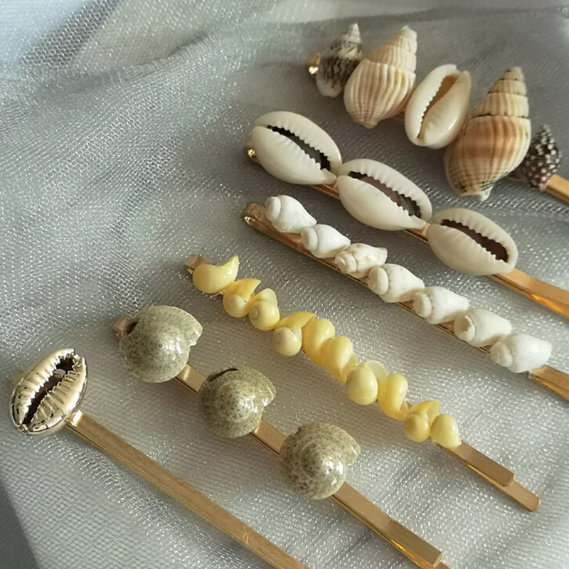 Trendy Jewelry Sea Shell Hair Clips Women Barrettes Pearl Hairpin Accessories