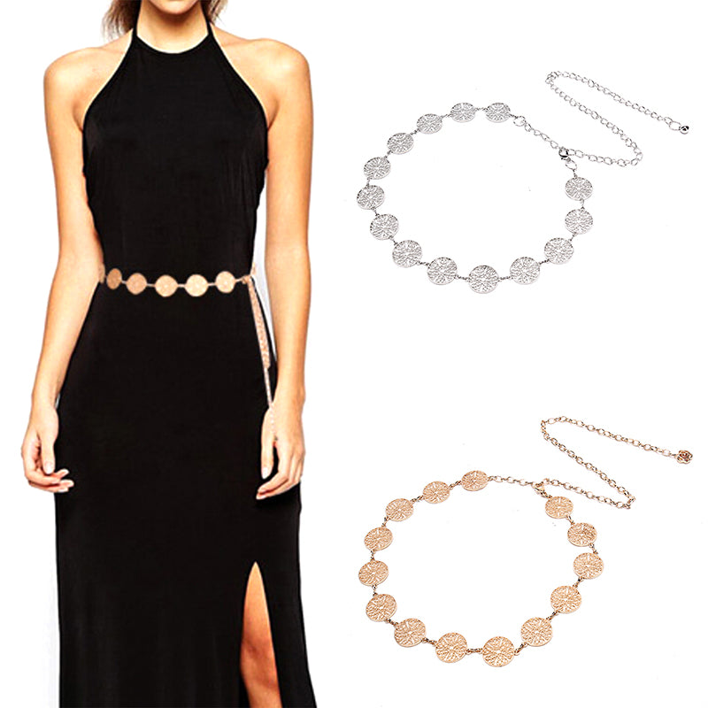 Fashion Metal Waist Chain Belt Gold Silver Buckle Body Chain Dress Belts New