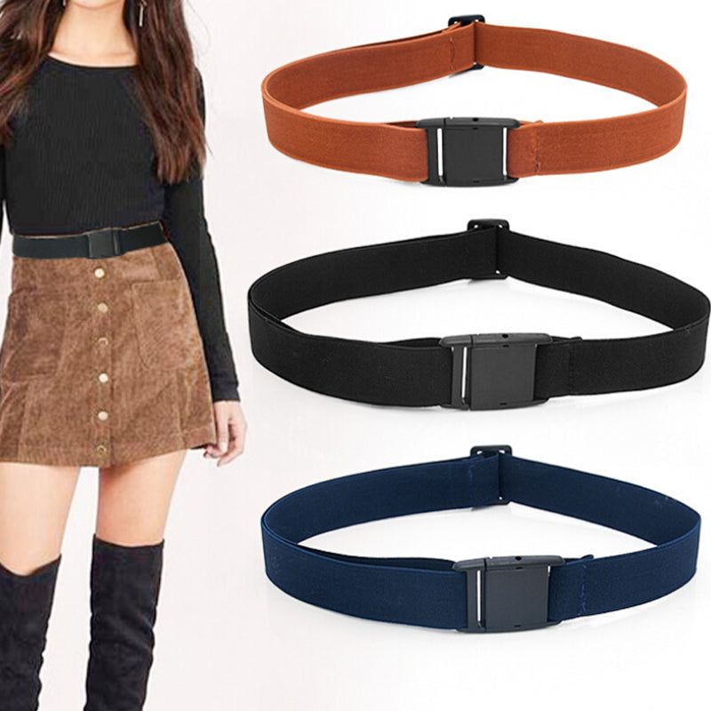 Unisex Women Belt Elastic Buckle-Free Invisible Adjustable Waist Belt Waistband