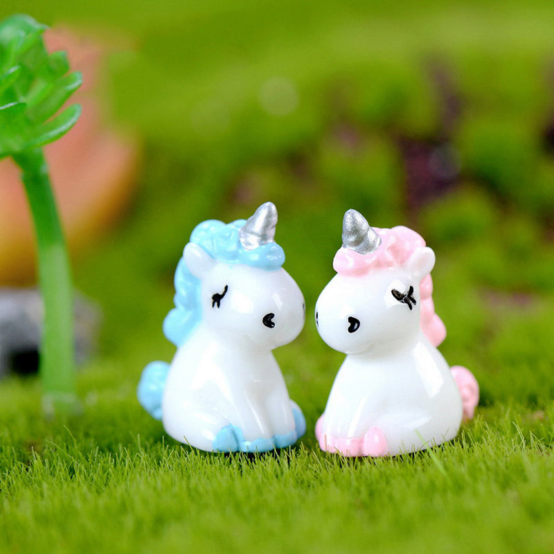 Cartoon Unicorn Miniature Figurine Fairy Garden Dollhouse Decor Micro Landscape