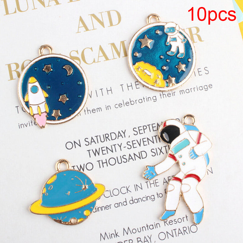 10Pcs/Set Enamel Alloy Space Universe Charms Pendants DIY Jewelry Making Craft