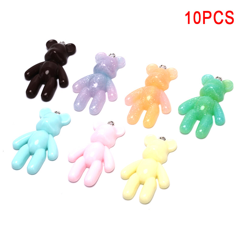 10Pcs/Set Cute Resin Colorful Bear Charms Pendants DIY Craft Jewelry Making Gift
