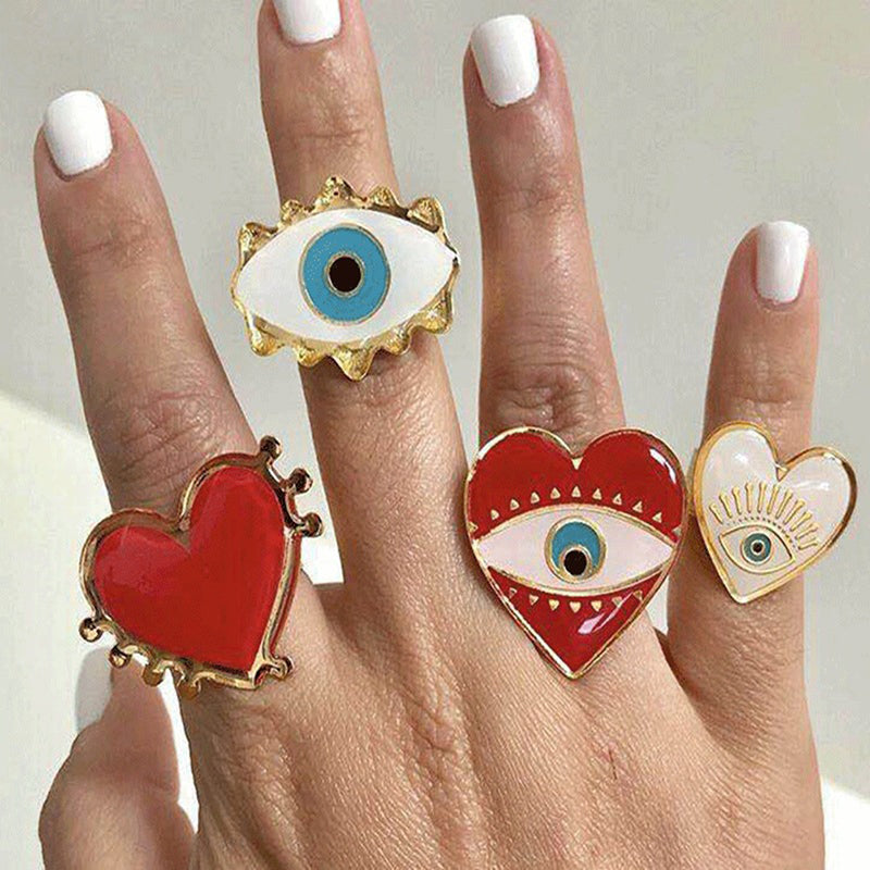 New Fashion Women Punk Love Heart Eyes Ring Adjustable Ring Open Jewelry Gifts