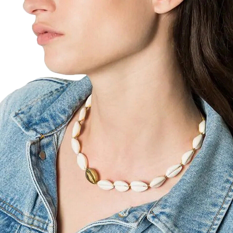 Bohemia Natural Cowrie Seashell Weave Adjustable Choker Necklace Jewelry Gift