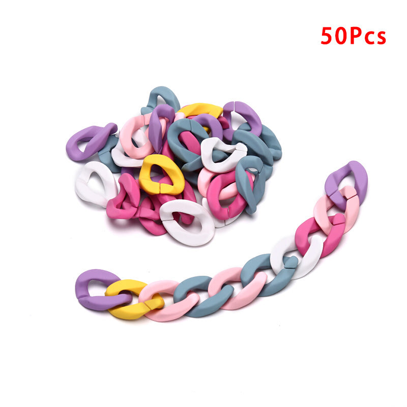 50Pcs/Set Acrylic Colorful Chain Links Open Connector DIY Jewelry Findings Craft