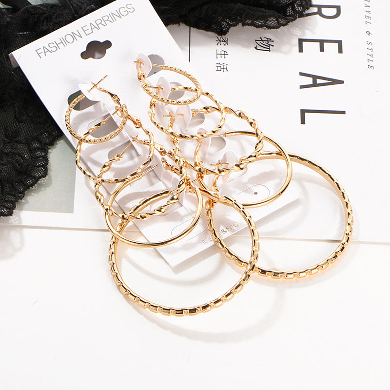 New Fashion Women Vintage Smooth Gold/Silver Circle Hoop Earrings Jewelry Set